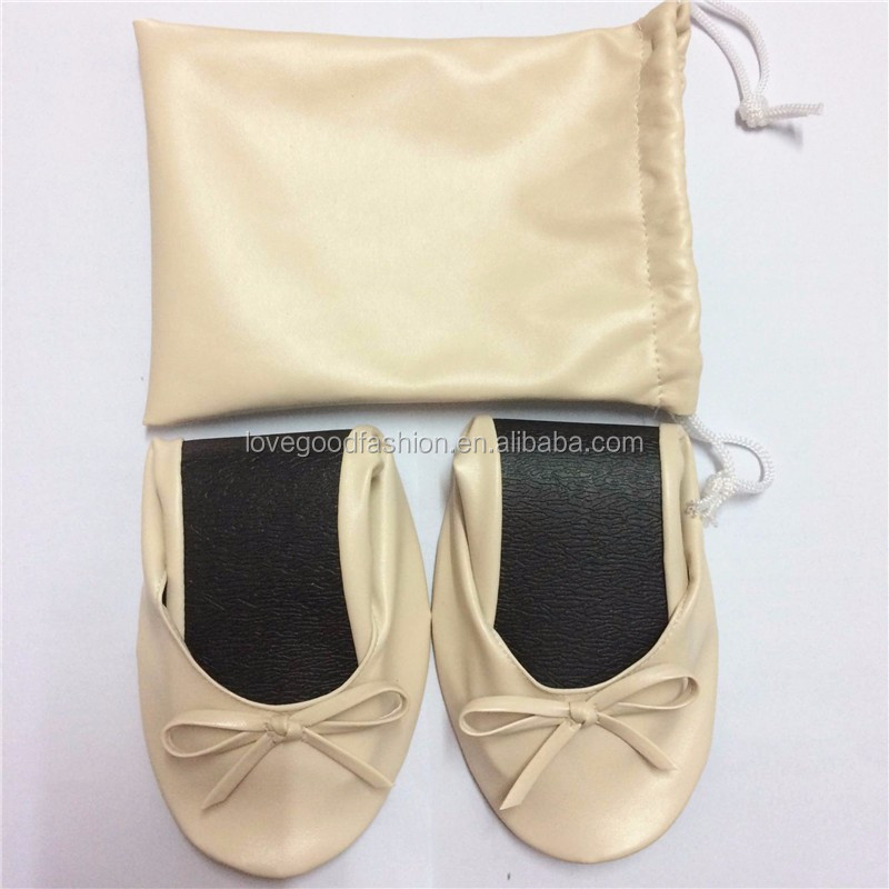 2017 Drawstring Bag Foldable Ballet Shoes/Roll-Up Ballet Pumps for Women