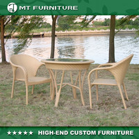 popular hotel room/garden/patio poly rattan dining table and chair