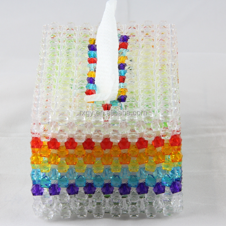 wholesale houses acrylic crystal beads tissue box DIY Beaded napkin dispenser holder for home decoration office hotel