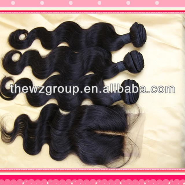 Peruvian virgin hair 4pcs hair bundle with closure mix length