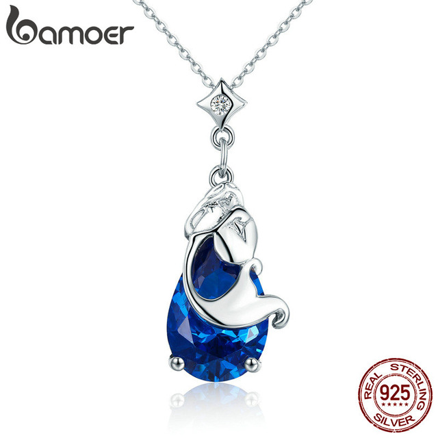 Mermaid/'s Missing 925 Sterling Silver Pendant Necklace Chain Fairy Women Jewelry