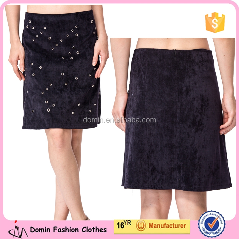 Latest design A-line office lady short skirt wholesale navy blue fashion women skirt