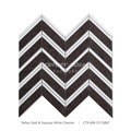 New Arrival Tethys Gold Brown Mixed White Marble Chevron Mosaic