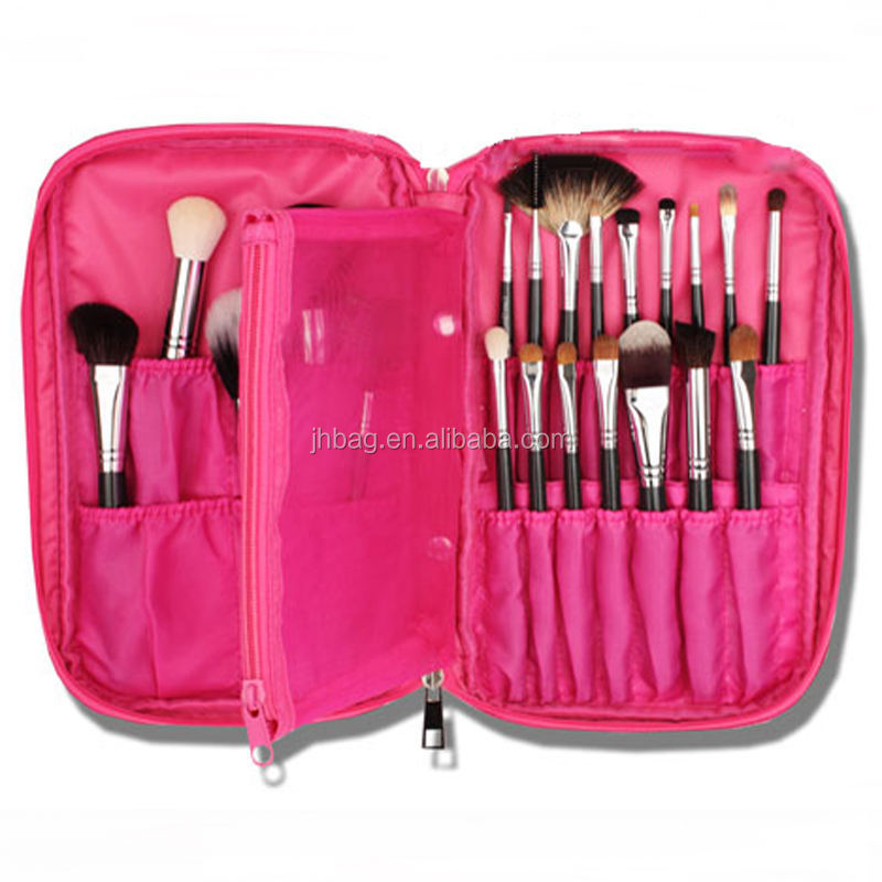 Promotion Multifunctional Makeup Brush Zipper High Quality Cosmetic Case for <strong>Travel</strong> & Home Use(pink)