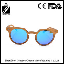 Best sales high quality 2016 made in china sunglass manufacturers retro round frame wood glasses