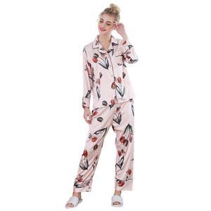 Wholesale autumn winter flower print women lounge wear home wear satin  pajama silk pajama f78f5810b
