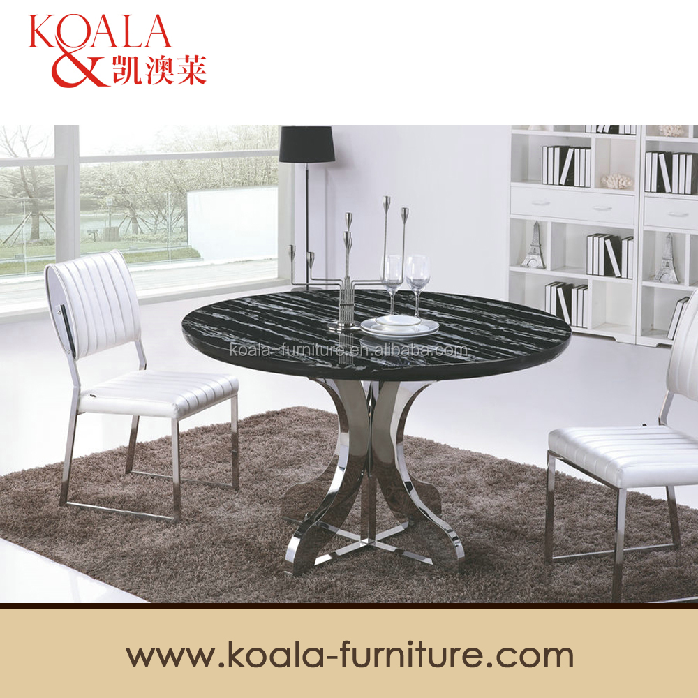 Round Marble Dining Table Set In Stainless Steel Legs A337 Buy Marble Roun