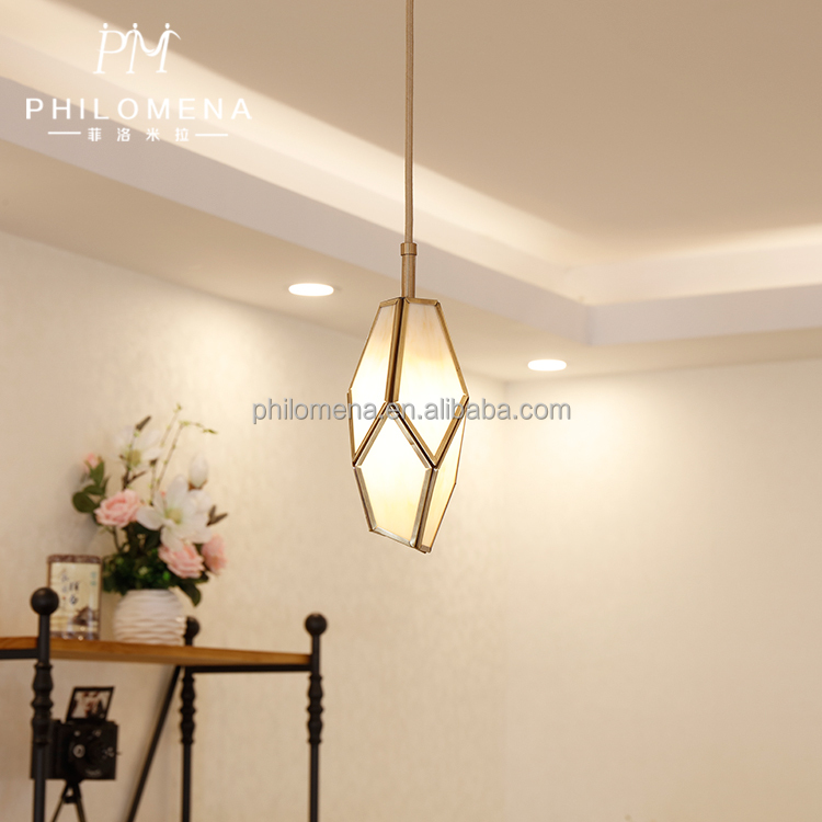 Mini style geometrical shape tiffany glass pendant light used for living room