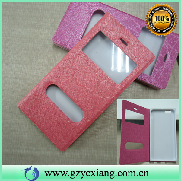 dual window flip leather case for samsung galaxy s4 i9500 smart phone cover