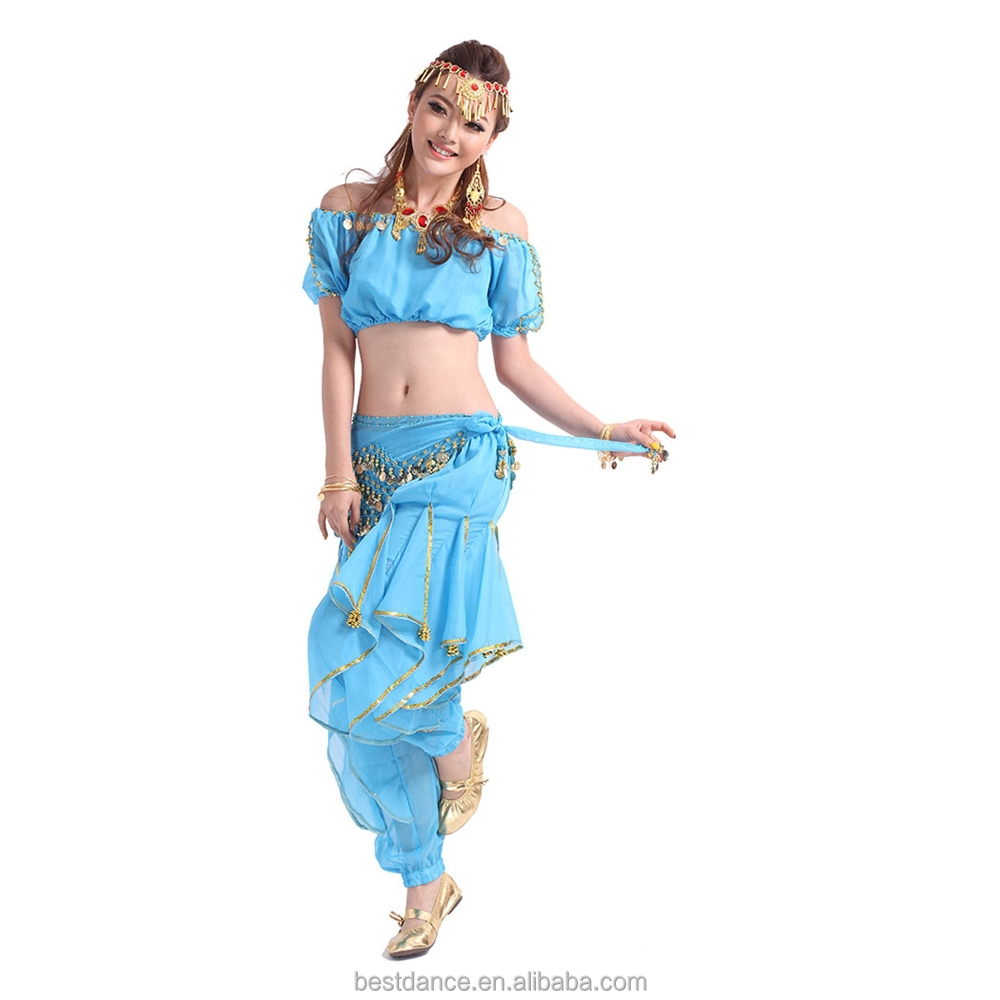 BestDance women indian dance trousers tribal bellydance trousers with hip scarf skirt OEM