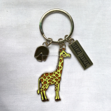 Hot sales custom Keychain,giraffe shaped metal keyring, cartoon keychain