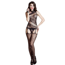 Newest Woman Alluring Black Open sexy Body Stocking Floral chains Hot Sex Girl Lingerie