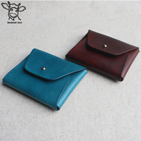 Handmade Band 11*9cm embossed initials leather wallets for ladies