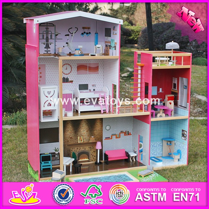 2016 new design full size children pretend play wooden uptown dollhouse with furniture W06A152