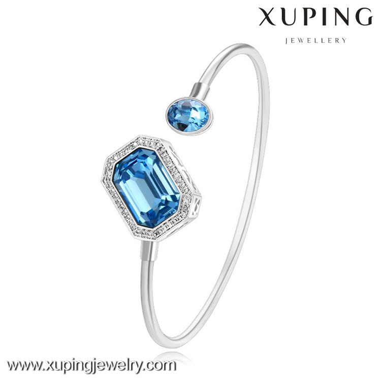 XW5029 xuping fashion wholesale price clear blue crystal bangle, cheap women bangle crystals from Swarovski