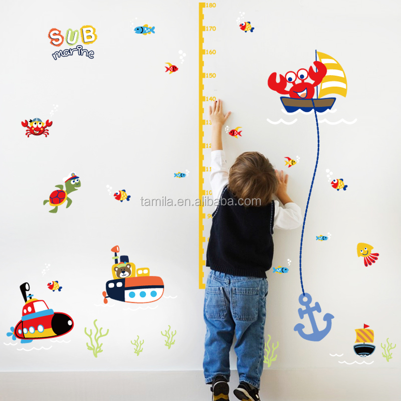 Kids cartoon sea animal sea world submarin children's height growth chart wall sticker DIY decorative kids room wall decal