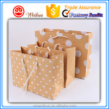 Recycled Brown Kraft Tints white Polka Dots shopping bags with large white dots