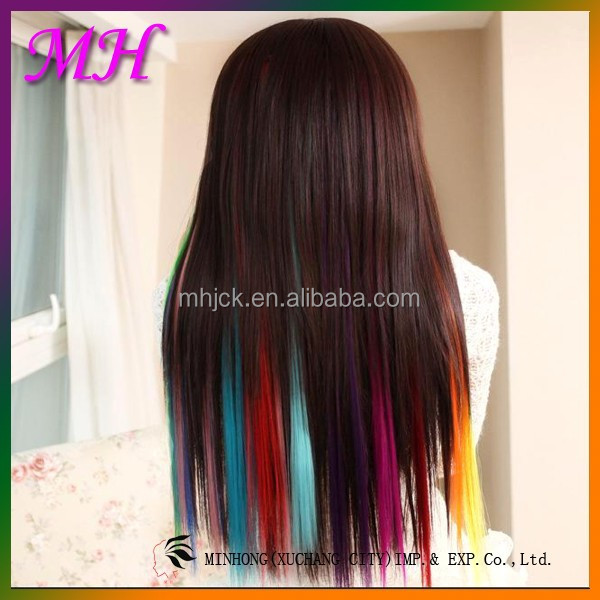 Ombre Hair Extension Clip in/Peruvian Clip in Hair Extensions/Red Yellow Clip in Hair