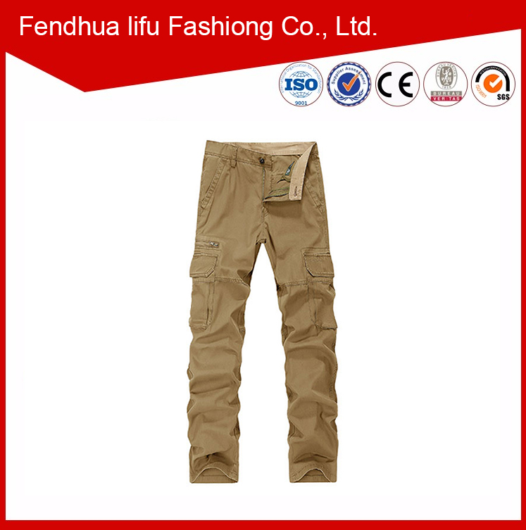 khaki hot high quality matchstick cargo pants with a lot of pockets