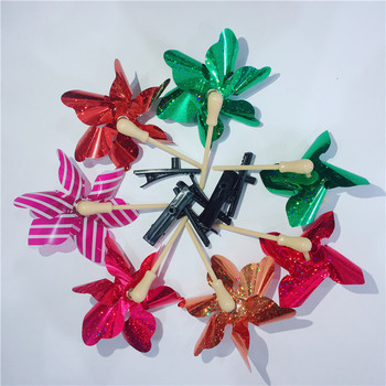 New design colorful plastic girls toy hairpin windmill