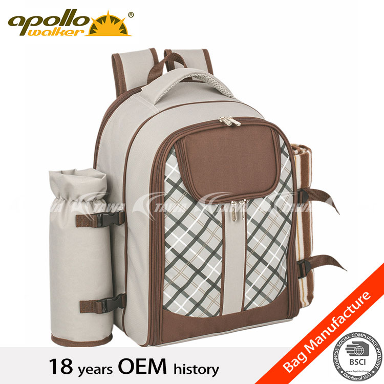 4 Person Picnic backpack with cooler compartment/carrying handle /shoulder strap