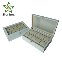 Custom-made white lacquered wooden 10 slots watch boxes & cases