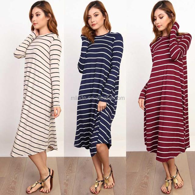 Women Casual Dress Long Sleeves Basic Loose Shirt Dress Irregular Hem Custom Midi Tee Shirts Dress Striped Print Pattern