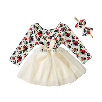 New arrival baby girls long sleeve chiffon dress 100%cotton chiffon dress