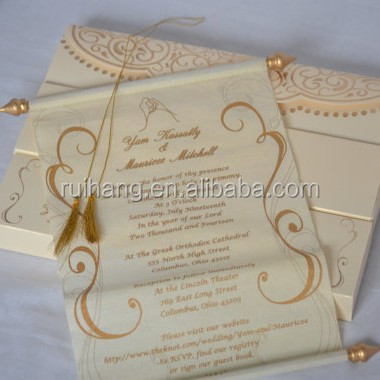 handmade stylish unique scroll wedding invitations card