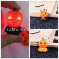 Custom made cute pumpkin led glow in the dark keychain keyring making led plastic keychain
