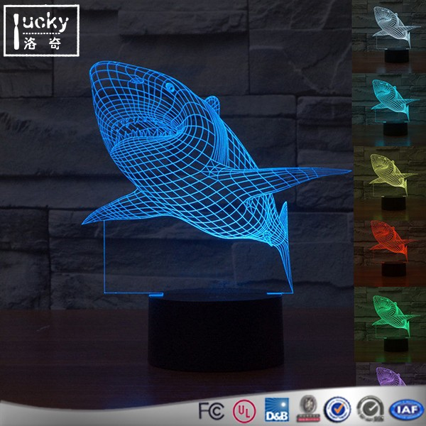 High 3d illusions lighting heart shape colorful 3d led night light with remote control