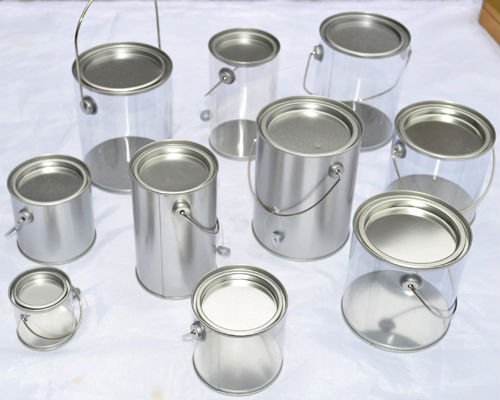 small plastic metal tin bucket with handle