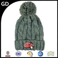 GDG1855 Knitted for winter warm earflap crochet beanie women 5 panel hat
