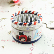 cute Hand Cranked Music Box Paper Multi design round shape music box
