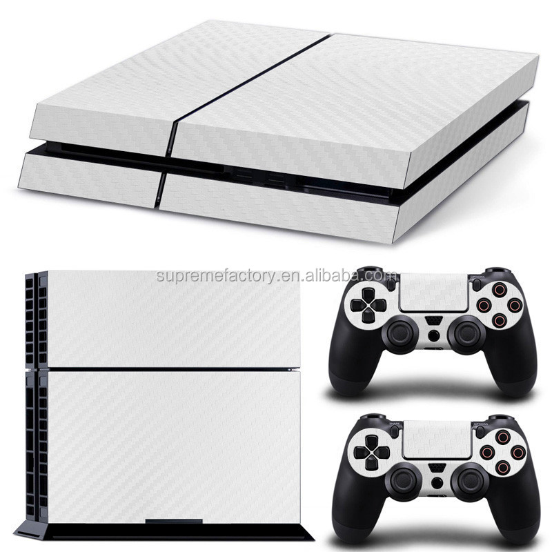 Vinyl Skin Sticker Decals for PS4 for Playstation 4 Console & Controller White Carbon Fiber