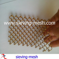 Champaign gold color decorative wire curtain mesh, cascade coil metal mesh draperies