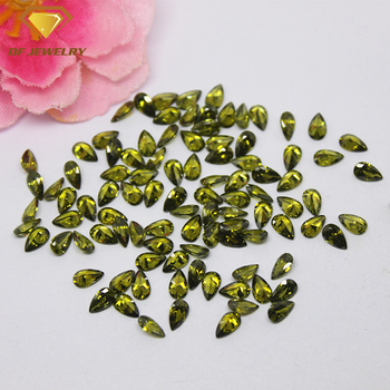 factory price pear shape olive gemstone synthetic cubic zirconia