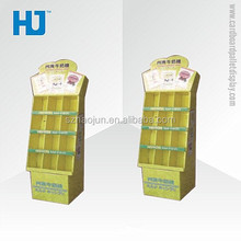 Supermarket Recycled Paper Display Shelf, Cardboard Display Shelving For Milk Candy Promotion Sales