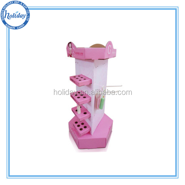 Cosmetic Product Promotional Cardboard Lipstick Display With Hooks,Corrugated Cardboard Peg Display Stand for Lipstick With Hole