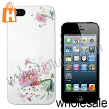 Pink Flowers Embossment Painting Pattern Shining Diamond Hard Case for iPhone 5
