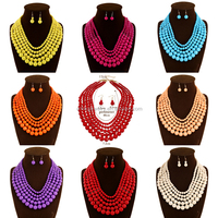 Hottest items 9 colors multilayer acrylic latest design beads necklace
