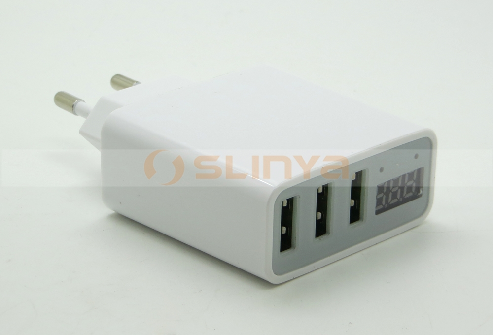 US EU Plug 5V 3A Fast Charging LED Current Voltage Display 3 Port USB Charger Adapter