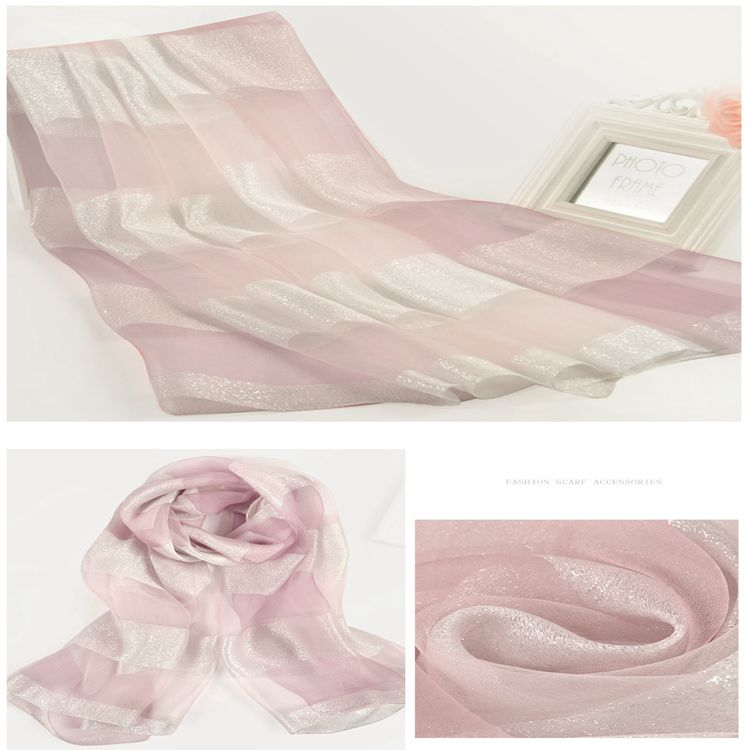2017 New arrival fashion simple style lightweight women wholesale china long cross stripe silk blend scarf shawl