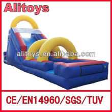 Giant inflatable slip slide way