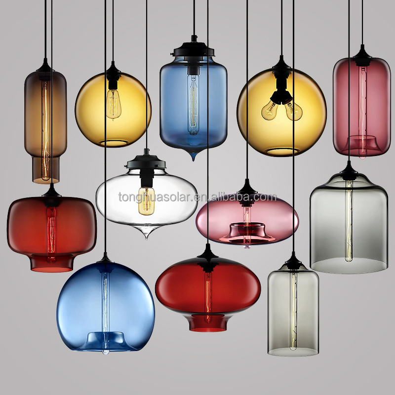 Modern Colored Glass Shade Pendant Lamps Decoration Lighting Fixture with CE