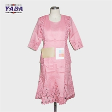 Custom size church 100% ramie pink modern designs embroidery women office skirt business suit ladies formal western wear