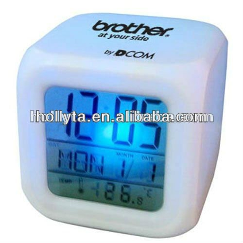 Colour Changing Cube Alam Clock with LCD screen
