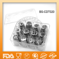 Stainless steel Russian nozzle set of 12 piece for cake decorating with plastic case BS-CDT020