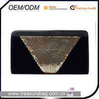 SL15705 high-grade gold velvet clutch evening bags aluminum sequins women ladies party clutch purse