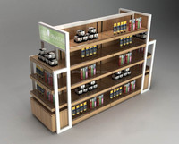 wooden retail store cosmetic display rack